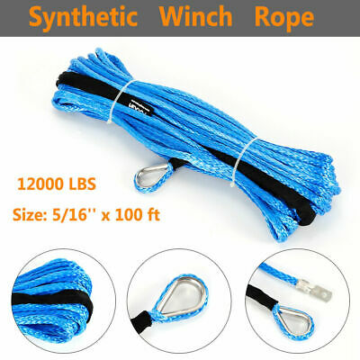 """5/16""""x100ft Synthetic Winch Rope Cable Line Replacement Rope 12000lbs Tensile US"""