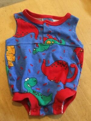Vintage Retro Unisex Baby Romper All In One 80s 90s Cotton Dinosaur Print Vgc