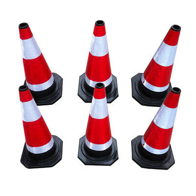 "UK 6pcs Road Traffic cones 18""(450mm) Self weighted safety Barriers Control Sign"