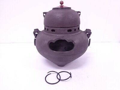 4144011: JAPANESE TEA CEREMONY / IRON KETTLE & BRAZIER w/ KAMAKAN HANDLES SET