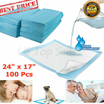 100 Disposable Bed Pads Adult Incontinence Underpads Pee Urinary 24x17