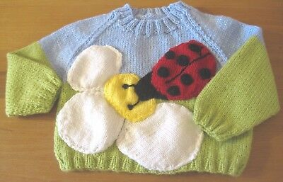 Xmas Hand Knitted Ladybird Jumper. Age 6-12M.
