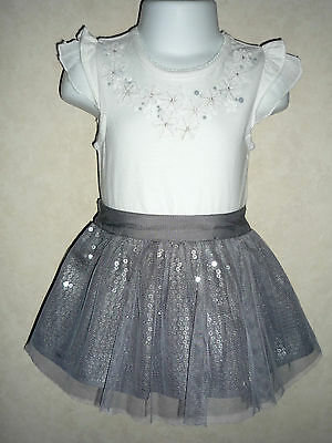 BNWT Girls Pretty Silver Sequin Tutu Skirt & Top Party Dress 2pc Outfit 3-4 yrs