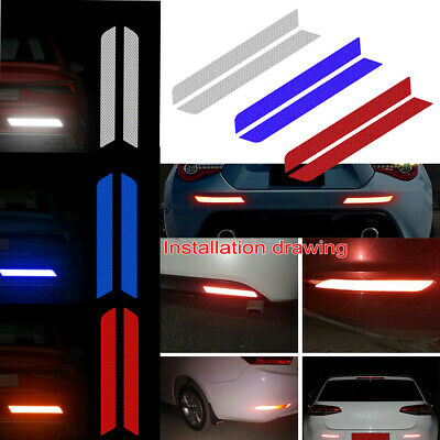 2Pcs Reflective Warning Strip Tapes Car Bumper Reflector Sticker Decals Safety
