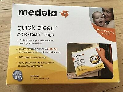 Medela Quick Clean Micro-Steam Sterilise Bags 5 Bags 100 Uses Bottle Microwave