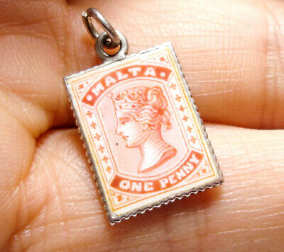 Beautiful Antique Victorian Silver & Enamel Stamp Charm Pendant