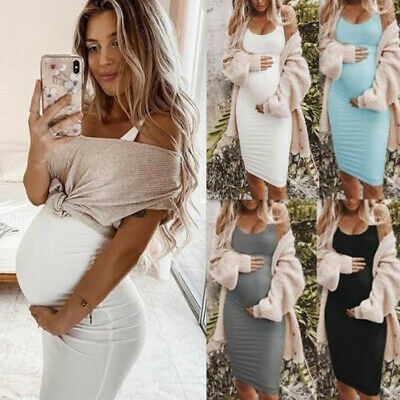 Womens Pregnancy Maternity Bodycon V Neck Sling Mini Dress Summer Casual 8C