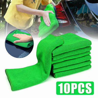 10X Absorbent Microfiber Towel Car Home Kitchen Washing Clean Wash Cloth Green