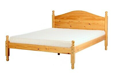 Veresi light antique pine bed frame, curved headboard, slats incl. Various sizes