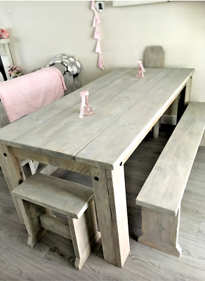 Vintage grey washed dining kitchen table french distressed benches chairs rustic
