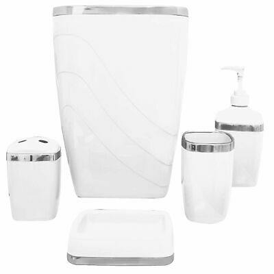 Carnation Home White/Silver 5 Piece Bath Ensemble