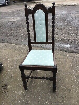 Lovely Antique Long Backed Barley Twist Hall / Bedroom Chair
