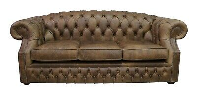 Chesterfield Buckingham 3 Seater Cracked Wax Tobacco Brown Leather Sofa Settee