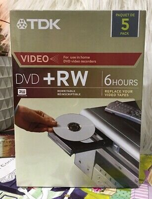 TDK Video DVD+RW 4.7 GB Up To 4X Compatible (5 pack) NEW SEALED IN PLASTIC