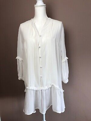 Next Victorian Vintage Style Ruffle Frill Semi Sheer Blouse Cream UK 14 (A2)
