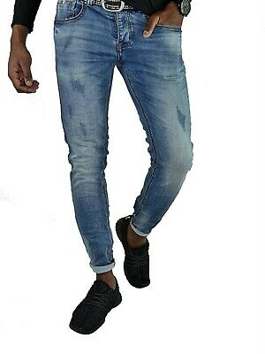 Herren Basic Style Young Skinny Lightblue Stonedwashed Skinny Fit Jeans Hose