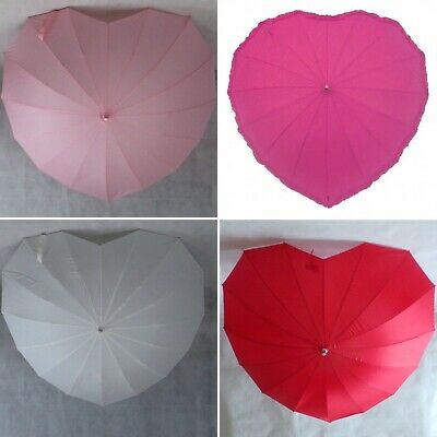 Ladies Heart Shape Umbrella Windproof Stylish Fashion Choose from Red,Pink,Ivory