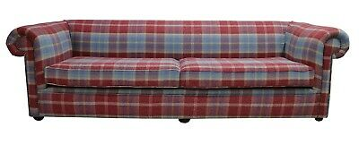 Chesterfield 1930's 4 Seater Settee Balmoral Ruby Check P&S Sofa Settee Couch 2C