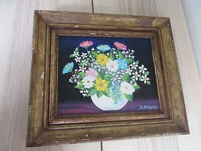 """Beth Magli Floral Flowers Painting in Vase 12""""x14"""" Framed"""