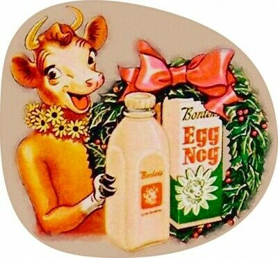 Elsie the Cow of Borden Eggnog Dairy Christmas Plasma Cut Metal Sign