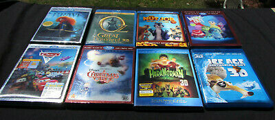 LOT OF 8 3D Bluray blu ray movies  Disney family animated w/ cases sleeves lot 1