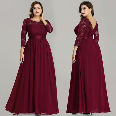 Ever-Pretty US 3/4 Sleeve Lace Women Burgundy Dress Mother Of Bride Gowns 07412
