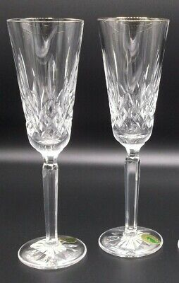 WATERFORD GOLDEN LISMORE Champagne Flutes Set of 4 NEW crystal wine glass tall