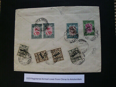 Persia/Persien/Perse/Persian/Middle East1929 Registered Mail Chiraz to Amsterdam