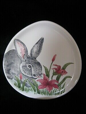 New Maxcera Oval Shape Easter Bunny Serving Plate With Flowers 10 1/2 X  9