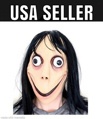 Momo Mask Scary Halloween Costume Wig Adult Latex Jason Friday the 13th Area 51
