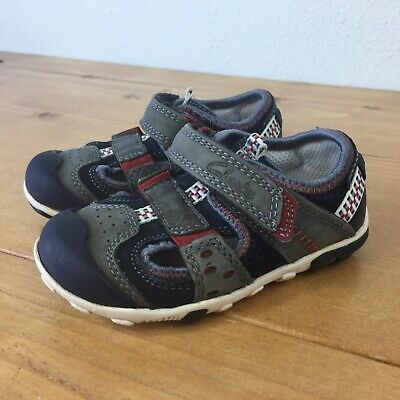 86e8218883a7 TODDLER GIRL CLARKS First Shoes Navy Leather Velcro Bow Shoes Size 5 ...