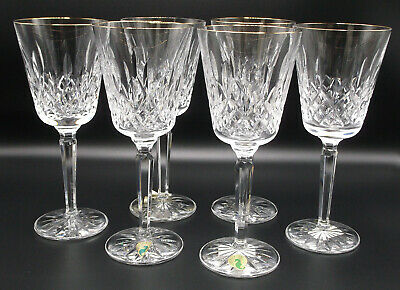 WATERFORD GOLDEN LISMORE Water Goblets Set of 6 NEW crystal wine glass tall gold