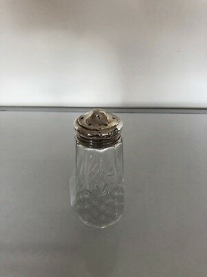 """Lovely Cut Glass With A Silver Topped Sugar Shaker 5"""" Tall"""