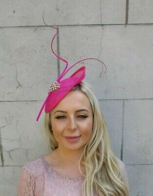 Hot Pink Rose Gold Feather Disc Saucer Hat Fascinator Hair Races Sinamay 7196
