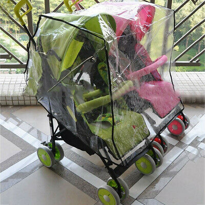 Newborn Double Baby Clear Stroller Rain Cover Weather Pram Pushchair Wind Shield