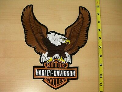 "Harley-Davidson Brown Up-Wing Eagle Patch ""10 1/2 x 7 3/4 "" - Made in USA"