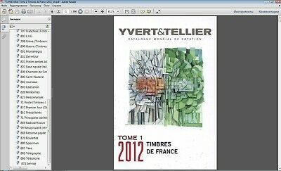 Yvert&Tellier Tome 1. 2012 Timbres de France Stamp Catalogue in P.D.F