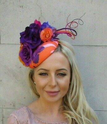 Orange Purple Hot Pink Feather Flower Hat Hair Fascinator Races Floral Rose 7197