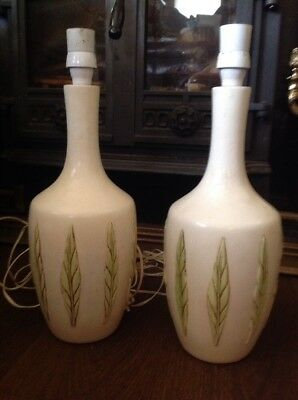 Vintage Stoneware Tall Vase Table Lamps Matching Pair