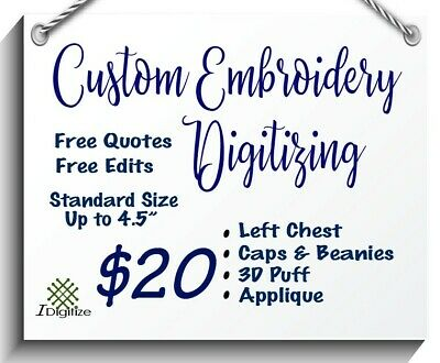 Embroidery Digitizing Service (Within a 4x4 square)