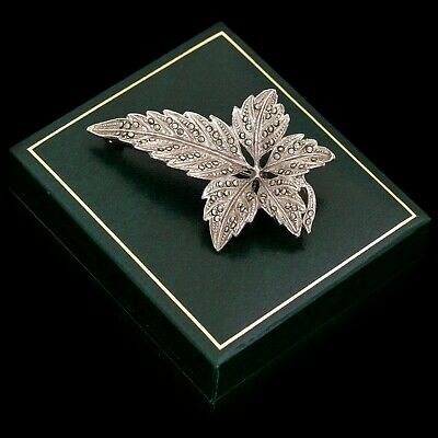 Antique Vintage Deco Retro White Metal English Sweetgum Leaf Spray Pin Brooch