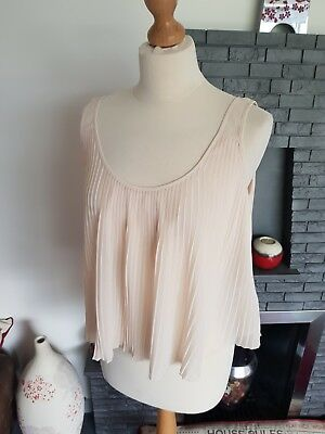 Bnwt ~Marks & Spencer Limited Edition ~Blush Pink Pleated Cropped Cami Top~Uk 10
