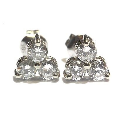 f1391ab89 14k white gold .78ct S I1 F 3 stone round diamond stud earrings estate  vintage