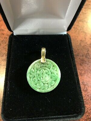 antique chinese carved jade pendant dragons 14kt bale lovely!