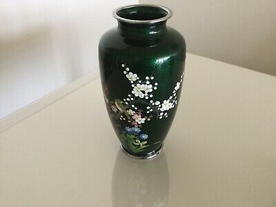 Vintage Japanese Cloisonné Vase With Cherry Blossoms And Bird Design Dark Green