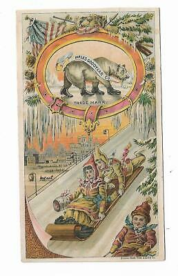 Old Trade Card Wales Goodyear Co Rubbers Boots Shoes Toboggan Bear Bad Weather