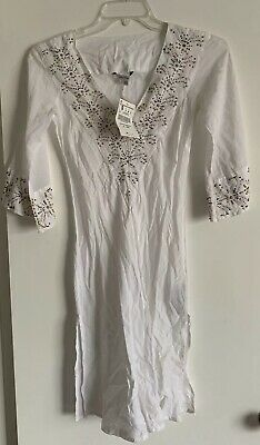 816dd74adf ZARA BASIC, LONGLINE Beach Cover Up, White, Beaded, NWT, Zara Italy ...