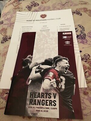 Hearts V Rangers Spl Saturday 20Th April 2019@Colour Team Sheet.mint.
