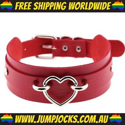 Red Heart Bondage Collar - Fetish, Choker, Gay, Toy *FREE SHIPPING WORLDWIDE*
