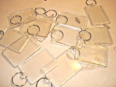 """12 Photo Keychains Blank Clear Acrylic Insert Picture 1.75"""" X 2.25"""" Frame Size."""